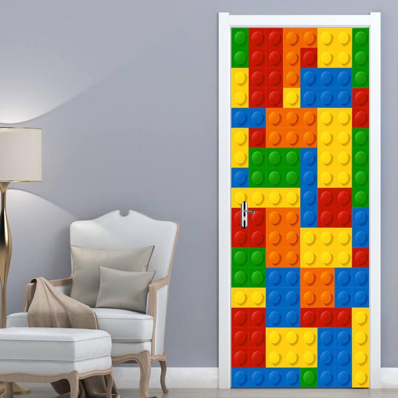 Image 5 - 3D Wall Mural Wallpaper Kids Room Lego Bricks Children Room Bedroom Decoration Self adhesive Door Sticker PVC Mural Waterproof-in Wallpapers from Home Improvement