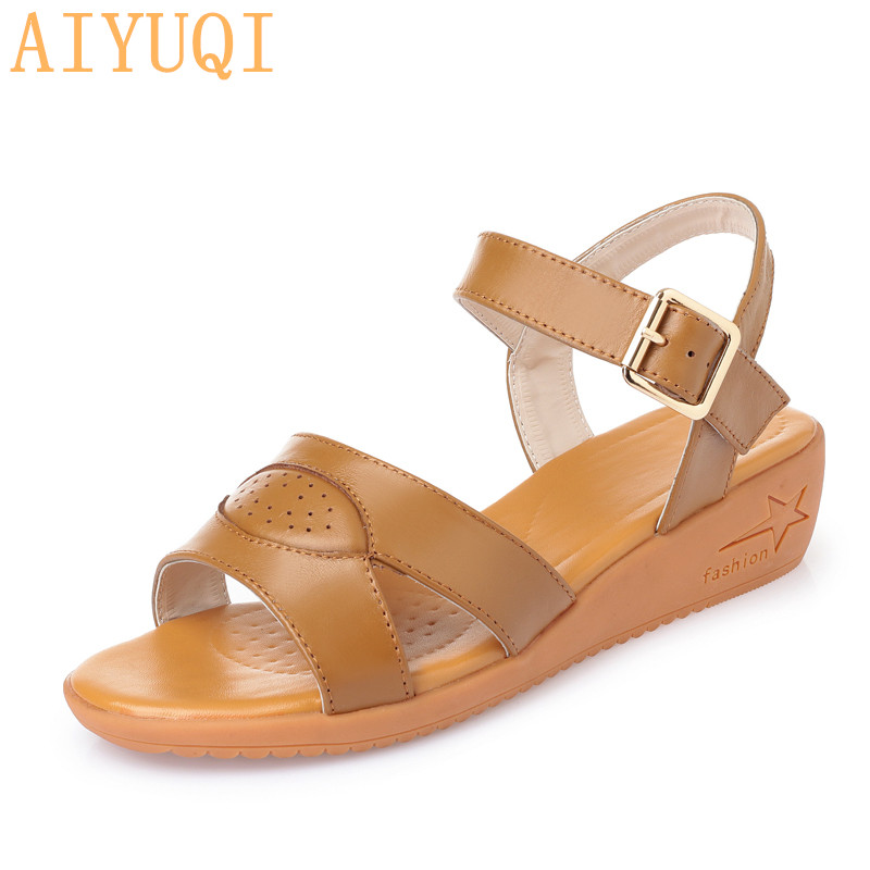 AIYUQIWomen sandals wedge 2019 summer new genuine leather female student plus size 42 43 shoes