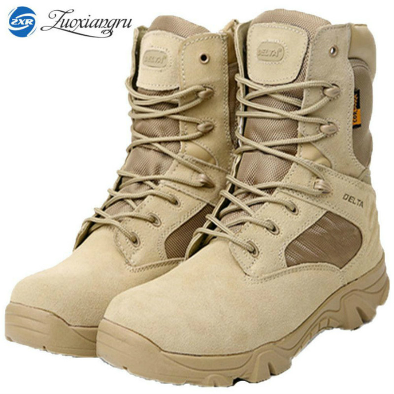 winter snow genuine leather mens desert military tactical