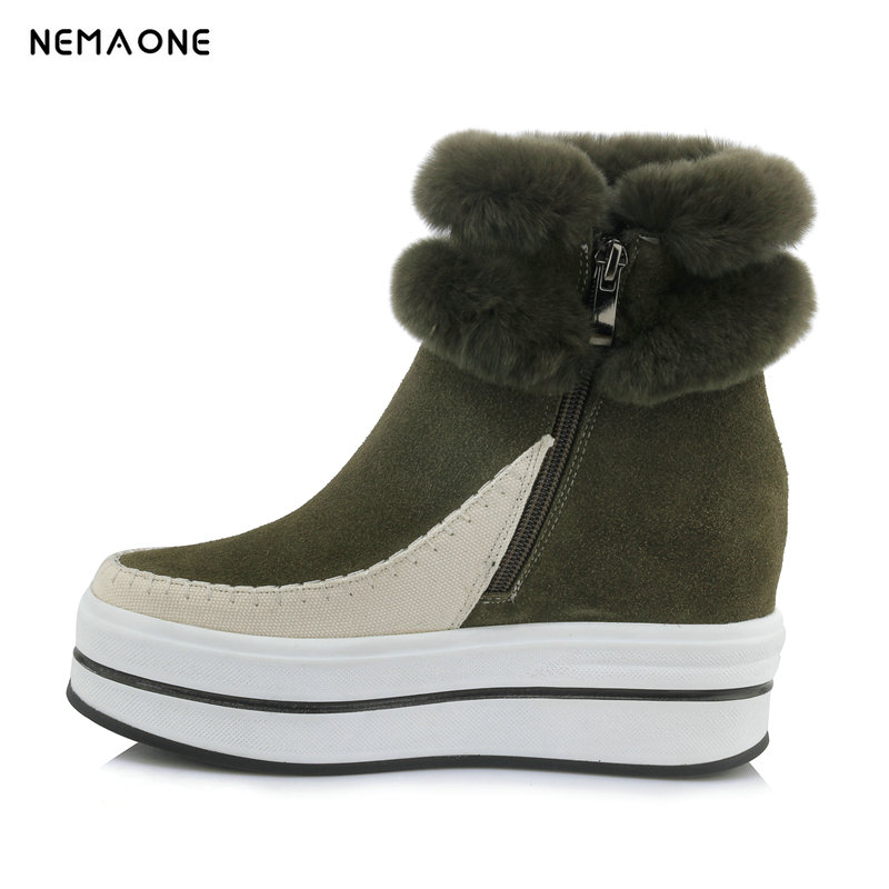 NEMAONE Fashion Top Quality fur Snow Boots Women Boots cow Leather Winter Warm Snow Boots Ankle Boots Free Shipping
