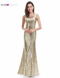 Image 2 - Lange Sparkle Prom Dresses Ever Pretty 2020 Nieuwe V Back Vrouwen Elegante XXDG01170PEC Sequin Mermaid Maxi Gouden Avond Party jurken