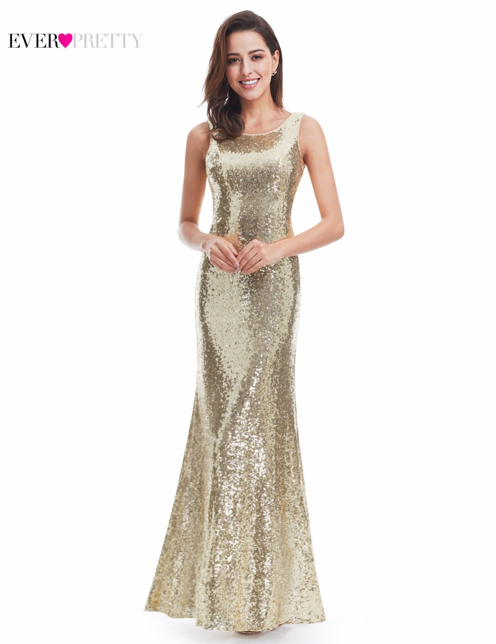 Image 2 - Long Sparkle Prom Dresses Ever Pretty 2019 New V Back Women Elegant XXDG01170PEC Sequin Mermaid Maxi Gold Evening Party Dresses-in Prom Dresses from Weddings & Events