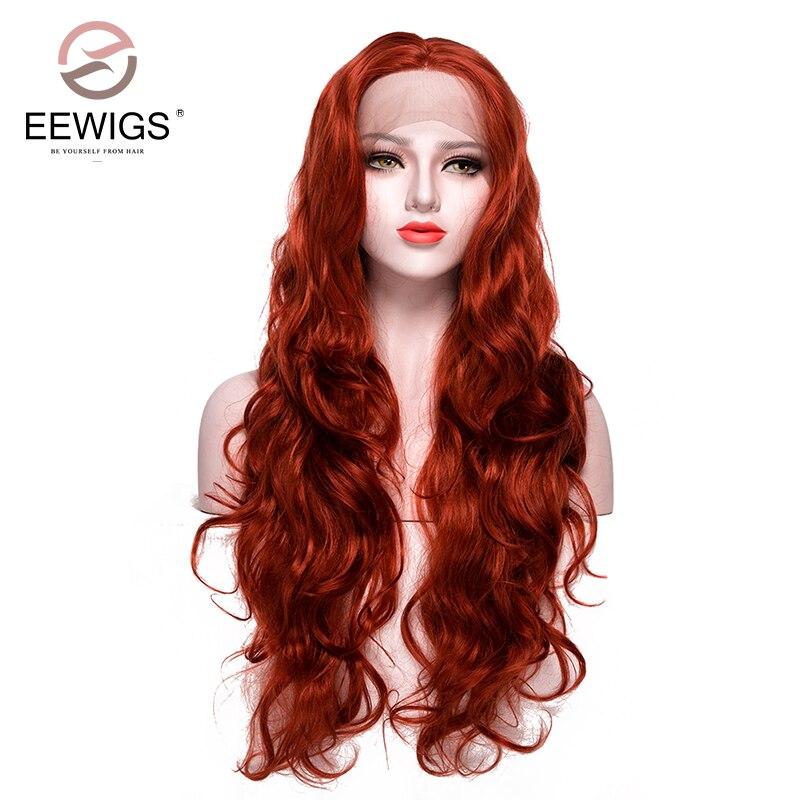 Longa Peruca Natural Onda Do Corpo Peruca Dianteira Do Laço Sintético Peruca Auburn Copper Red Peruca para As Mulheres Brancas Drag Queen Traje Cosplay peruca