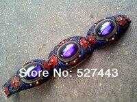 Wholesale free shipping >> Vintage tibet silver handwork inlay Purple Zircon old cloisonne Enamel bracelet
