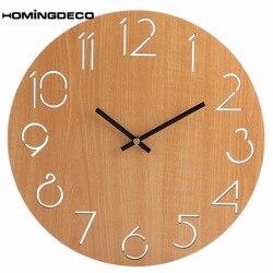 Homingdeco 12 cali prosty okrągły zegar ścienny nowoczesny Design zegary ścienne home decor drewniana ściana zegarek zawieszki dekoracja domu 2018
