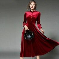 Новый женский, черный Вельветовое платье зимние платья 2017, женская обувь Vestido Longo Длинные рукава длинное Платья для вечеринок халат Longue Femme