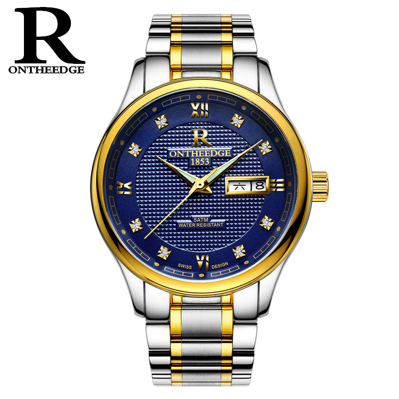 RONTHEEDGE Luxury Mechanical Watches Men Automatic Stainless Steel Wristwatches Auto Date Fashion Man Watch with gift box RZY015 men luxury automatic mechanical watch fashion calendar waterproof watches men top brand stainless steel wristwatches clock gift