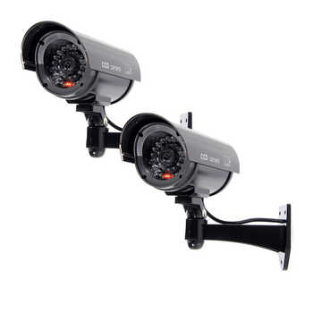 MOOL  2x Flashing Light Dummy Security Camera Fake Infrared LED Surveillance Bullet - DISCOUNT ITEM  15% OFF All Category