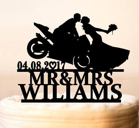a3a607f29e2 personalized Motorcycle Couple wedding Cake Toppers bride groom engagement bridal  shower party decorations
