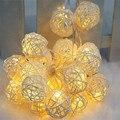 4 m 20 Bola Rattan corda Levou luz noite quente lanterna Guirlanda De Casamento decoração do Xmas do Natal Decoração luzes da cortina de fadas lâmpadas