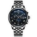 Tevise nueva moda relojes mecánicos hombres casual impermeable reloj de pulsera negro acero reloj de la marca para hombre horas montre
