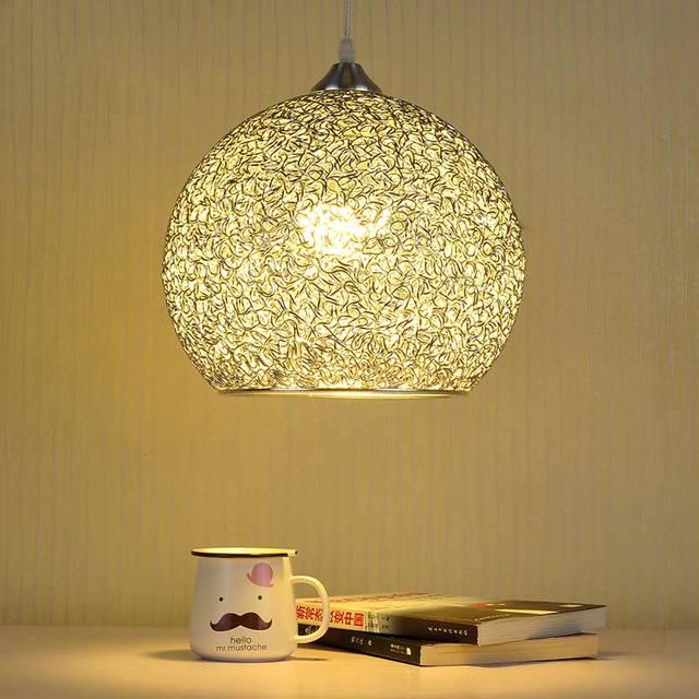 Modern Pendant Light Dining Room Restaurant Kitchen Lamp Silver Aluminum Lampshade Decoration Home Fixture E27 110-220V