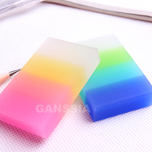 4pcs/lot Lovely Semitransparent Rainbow Color Eraser Stationery Accessories Pencil Erasers Office Zakka Supplies (ss-1459)
