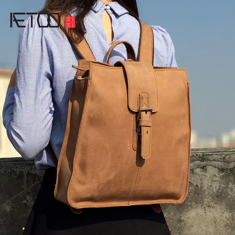 AETOO New leather shoulder bag ladies student bag Japanese and Korean version of the first layer of leather leisure smal korean version canvas shoulder bag backpack student bag ladies cartoon cute new child birthday gift