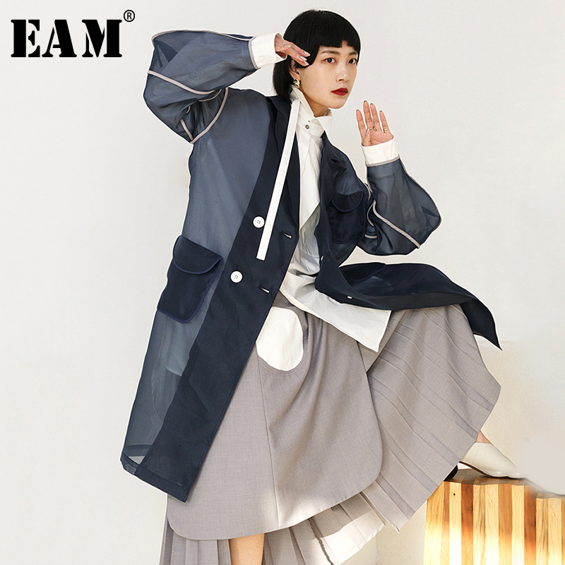 [EAM] 2019 New Spring Summer Lapel Long Sleeve Organza Split Joint Pocket Spliced Windbreaker Women   Trench   Fashion Tide JR448