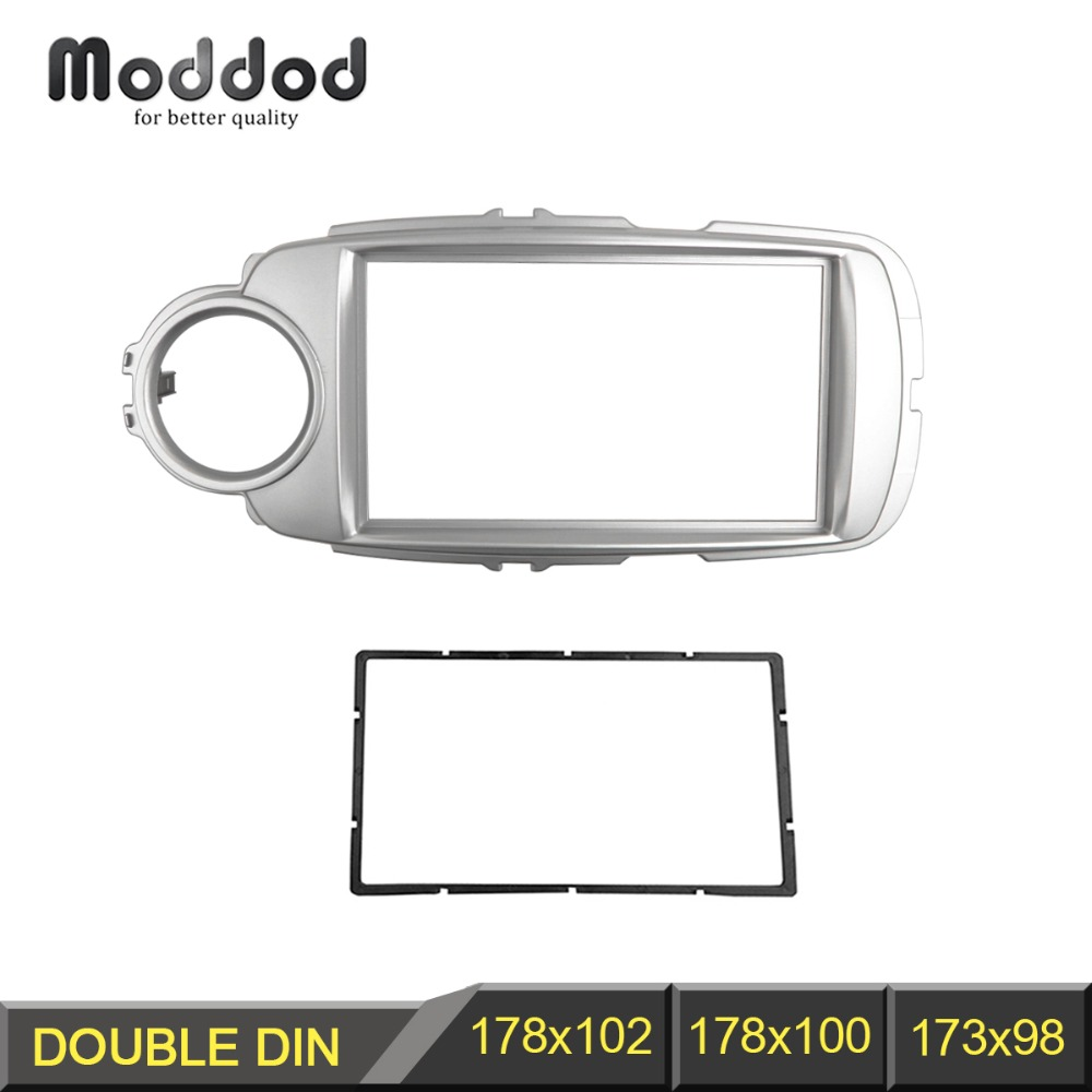 Double Din Radio Fascia untuk Toyota Yaris Vitz 2011+ DVD Stereo Panel Dash Mounting Installation Trim Kit Face Frame Bezel