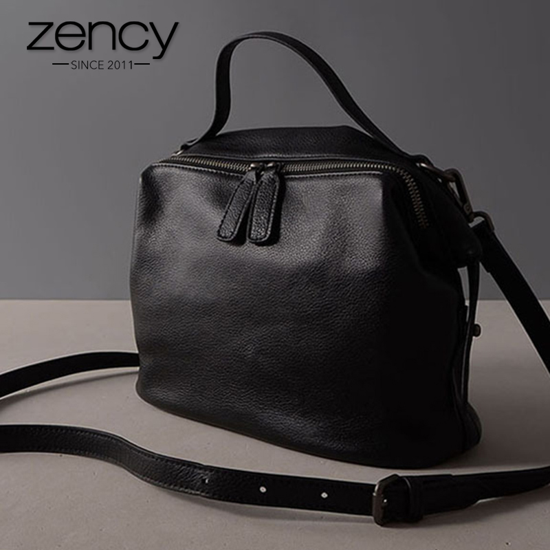 Zency Retro Black Women Handbag 100% Genuine Leather Lady Casual Tote Fashion Female Crossbody Messenger Purse Grey Shoulder Bag mint retro stamp handbag shoulder bag tote purse leather envelop messenger may25 page 2