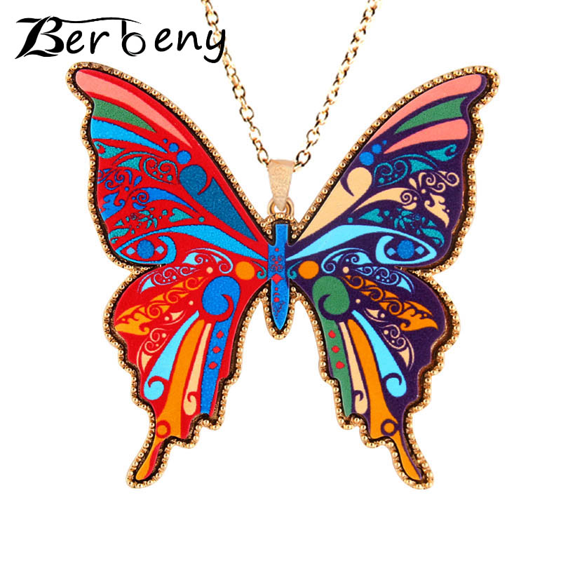 Berbeny New Ethnic Tole Painting Style Classic Cartoon Animal Fashion Jewelry Brand Butterfly
