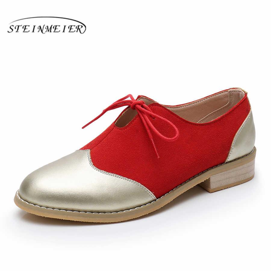 Đế Phẳng Da Bò Nữ Giày Nữ Giày Gót Dây Leo Tay Oxford Xuân Hè Cho Nữ Vintage Giày
