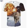 Mr.1991 Super poderes gato impresso t-shirt 3D para meninos das meninas da forma t shirt do verão animais impressos crianças grandes 11-20years camiseta A4