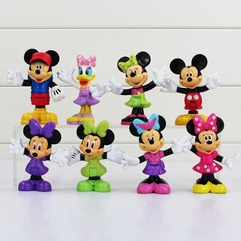 <font><b>New</b></font> <font><b>Mickey</b></font> Figure Toys <font><b>Minnie</b></font> <font><b>Mouse</b></font> Donald Duck <font><b>PVC</b></font> Figures Dolls Brithday Gift For Kids 7cm 8pcs/set