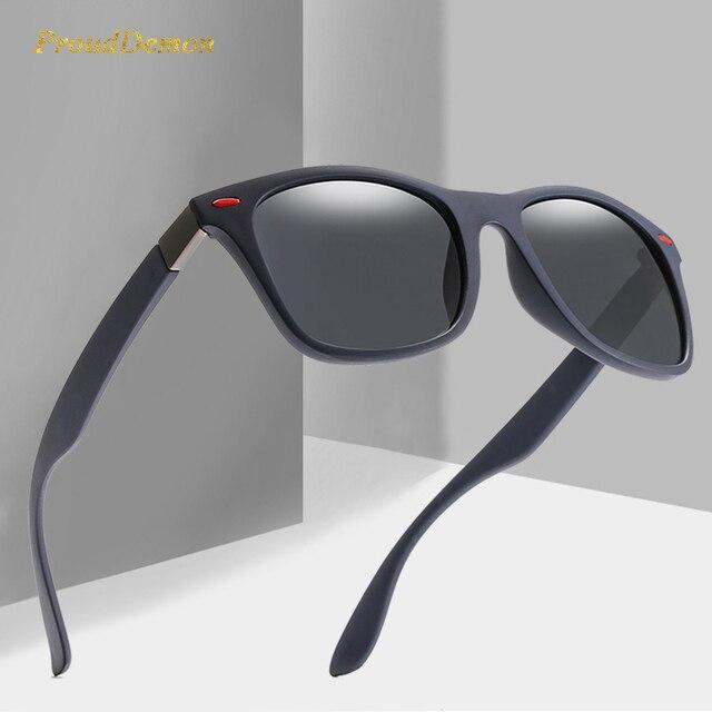 ProudDemon Homens de DESIGN DA MARCA Clássico Preto Polarizada Óculos De Sol  Das Mulheres 2018 Rebite Retro Fram Quadrado Masculino óculos de Sol Óculos  de ... 34a9803b12