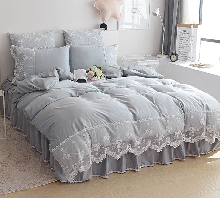 highquality bedding waterwashed silk cotton lace bed skirt fourpiece european