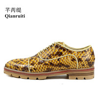 Qianruiti Men Snakeskin Flats Lace Up Anti Skid Men Oxfords Vintage Style Camping Shoes Men Derby