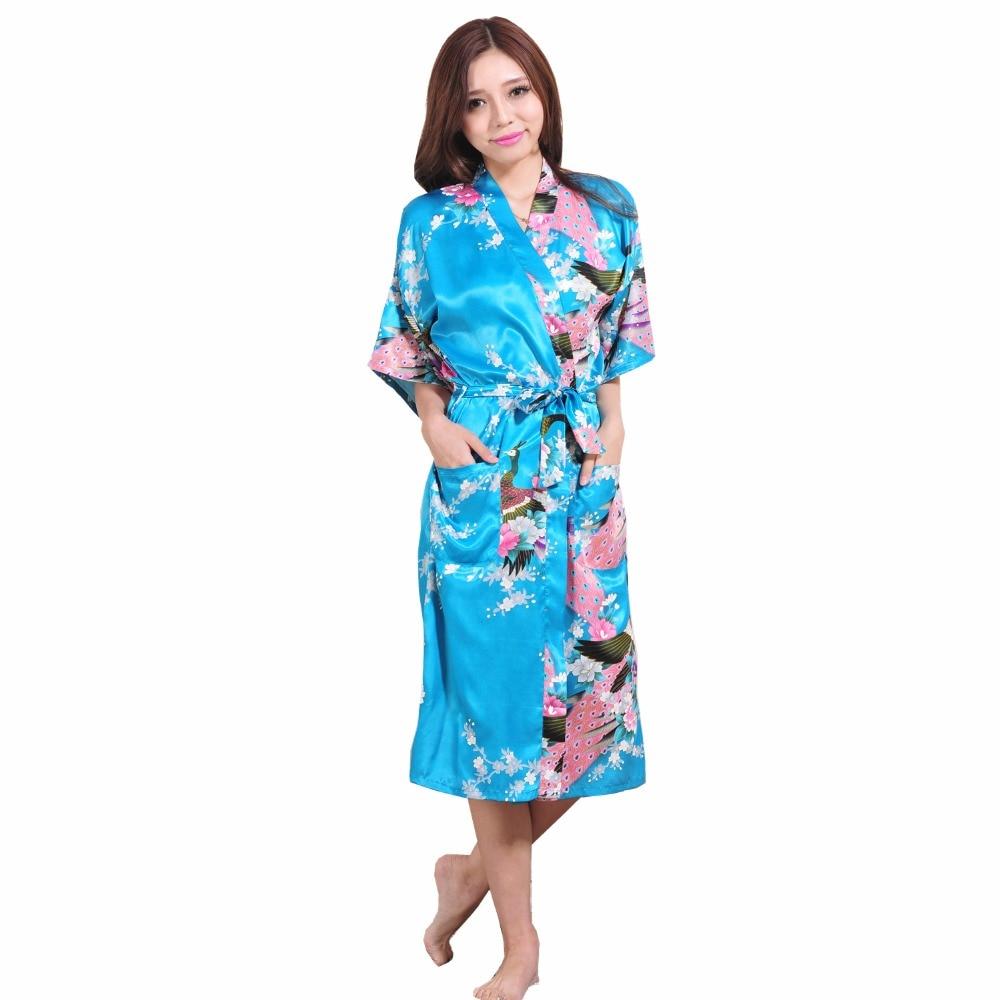 86 Plus Size XXXL Blue Chinese Female Silk Rayon Robe Kimono Night Gown Printed Peacock& ...