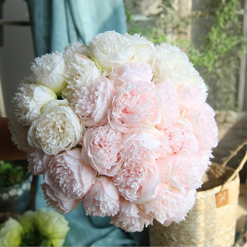 Artificial Flower Peony Bridal Bouquet Fake Flower for Christmas ...