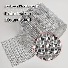 24 row plastic silver Rhinestone mesh imitate strass trim 10yards roll  Stones Appliques for Wedding Dresses Clothes Decoration 292c54dfb01d
