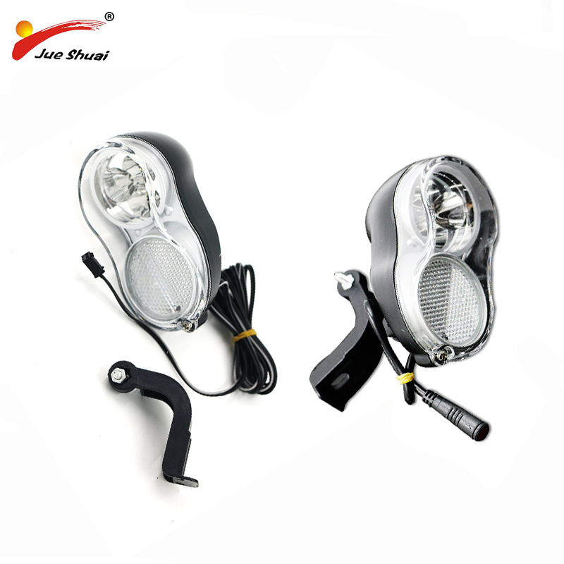Electric Bicycle Front Light 36V Ebike LED Head Lights 200CM Wire Head Lamp Bright Two Connector Optional Model JS-118B