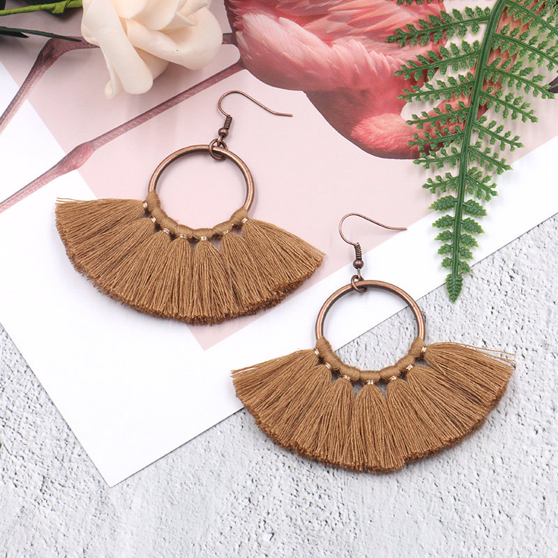 Exknl Long Vintage Fringed Drop Tassel Earrings Women Bohemian Round Big Earrings Ethnic Party Dangle Earrings Fashion Jewelry 12