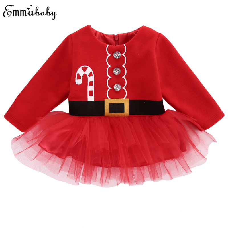 все цены на 2018 Christmas Clothing Baby Girl Clothes Long Sleeve Xmas Santa Claus Tulle Girls Dress Long Sleeve Costume Mesh Dresses