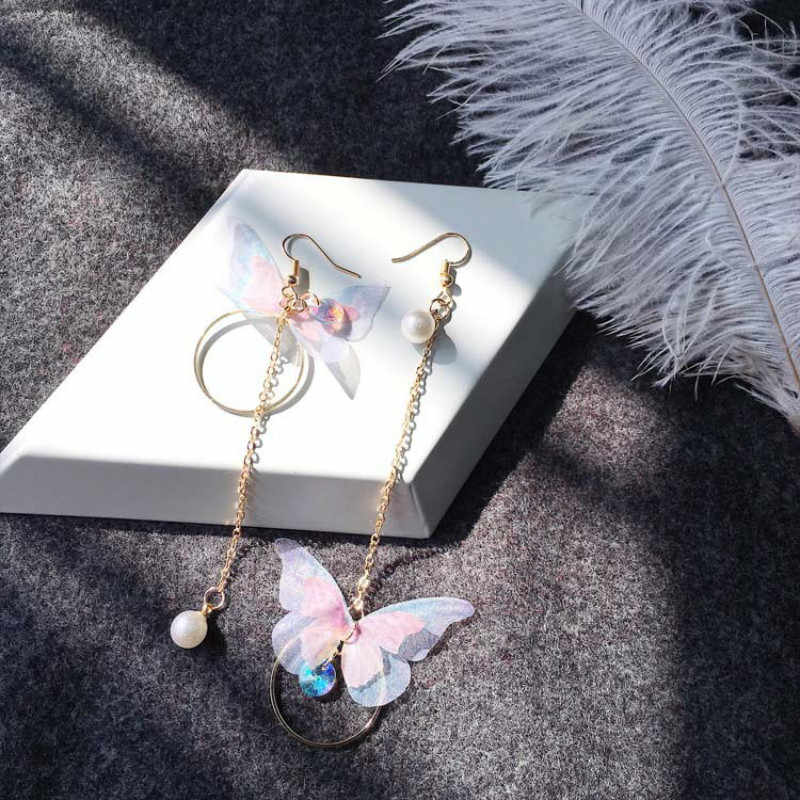 Korean retro asymmetric butterfly imitation pearl alloy earrings long section of the wings and  Earings Fashion Jewelry 2017