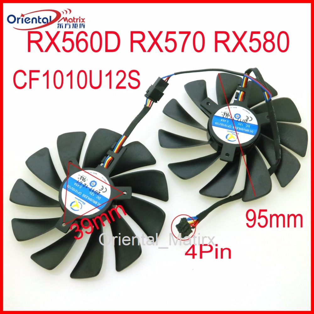 Free Shipping CF1010U12S 12V 0.45A 95mm 4Wire 4Pin VGA Fan For XFX RX560D RX570 RX580 Graphics Card Cooling Fan free shipping 2pcs lot 86mm vga fan 4pin for galaxy gtx950 960 gtx1060 graphics card cooler cooling fan