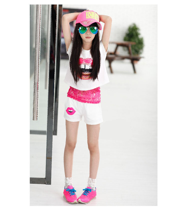 girls 3 pieces sets 2015 mother and daughter clothes suits kids summer clothes pink white black vest and lace tank top and shorts clothing set 6 7 8 9 10 11 12 13 14 15 16 years kids girl  (5).jpg