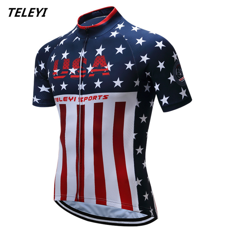 Teleyi Sport Bike Team Racing Cycling Jersey Tops Summer Bicycle Cycling Clothing Ropa Ciclismo Breathable MTB Bike Jersey Shirt