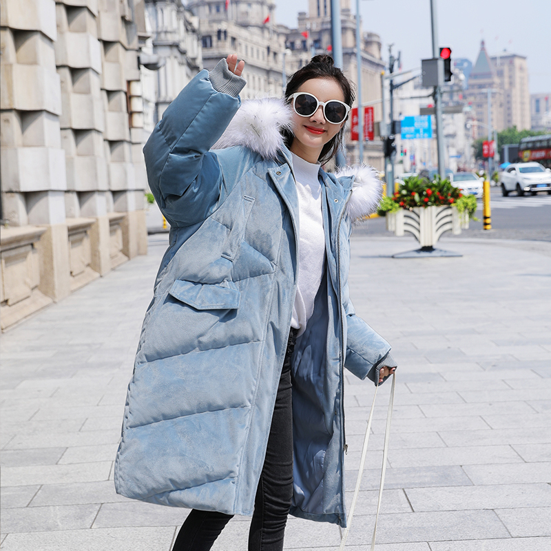New Velvet Down   Parka   Big Collar Big Fur Winter Women   Parka   Large Code Jacket Long Loose Collar Female