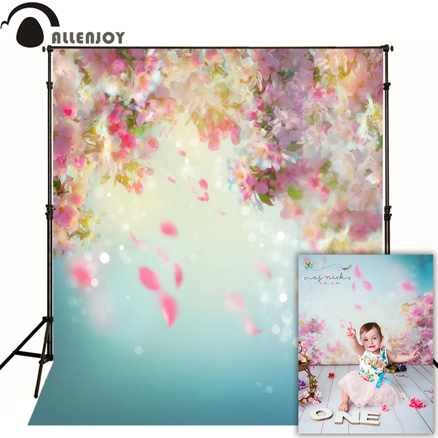 Allenjoy newborn photography backdrop flower spring bokeh watercolor background photo studio baby shower child nature photocall