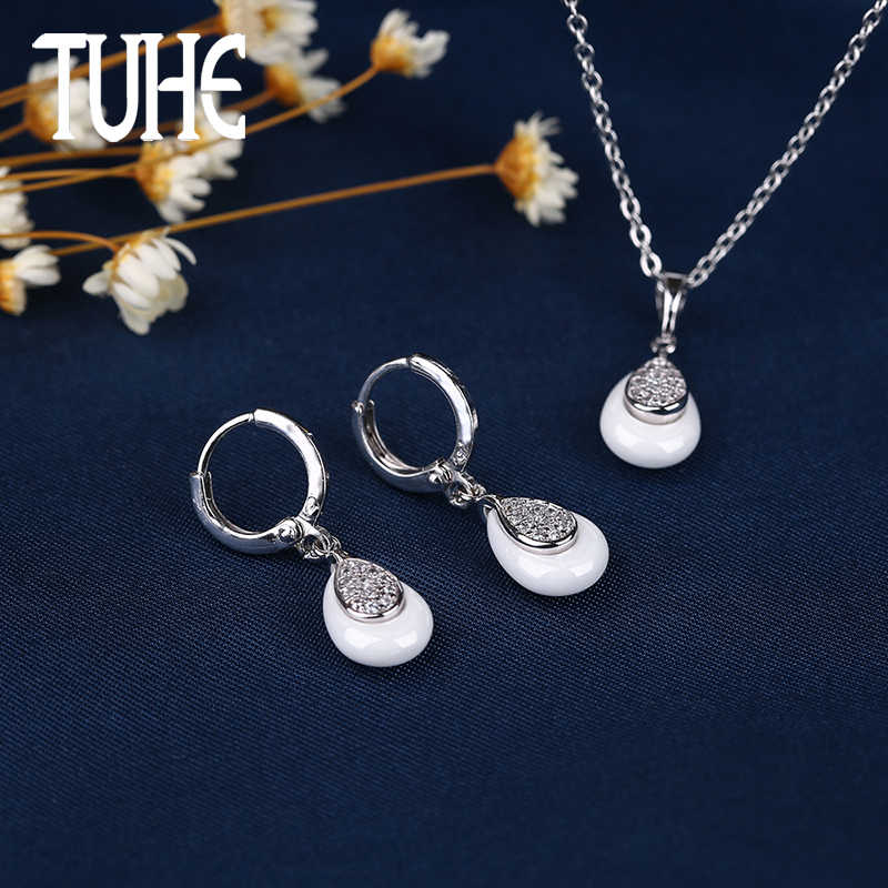 Earrings Ring Fashion Jewelry Set White Ceramic Ring For Women Drop Earrings Jewelry Earrings Engagement Ring Anniversary Party