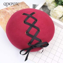 QDKPOTC 2018 Brand New Fashion Style Wool Berets Vintage Ribbon Warm Women French Artist Solid Color Sweet Lovely Female