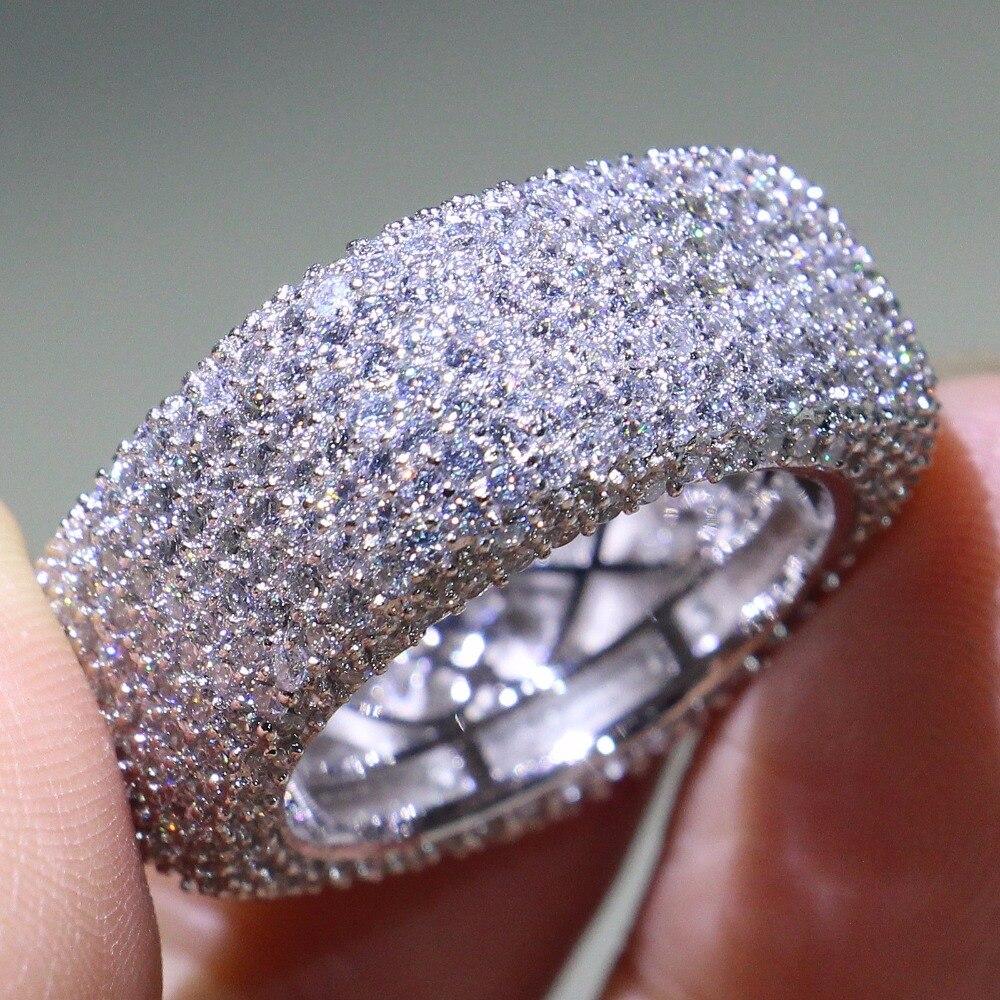 D'origine superbe De Luxe Bijoux 925 Sterling Argent Blanc Clair AAAA Zircon Carré Promesse Femmes bague De Mariage Cadeau