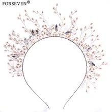 FORSEVEN Hair Jewelry Silver Pearl Elastic Wedding Hair bands For Bride Hair Accessories Handmade Crystal tiara Hairwear FD107
