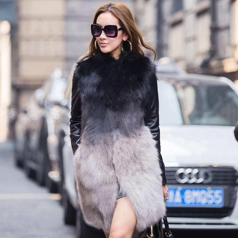 Free shipping !!! Woman with thick warm winter leather fox fur fur fashion coat / M – XXL