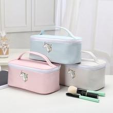 Bolsa de almacenamiento de viaje para chicas, bonito diseño rosa y azul de unicornio, auriculares de estilo fresco, joyería de línea de datos, monedas, dulces, cosméticos