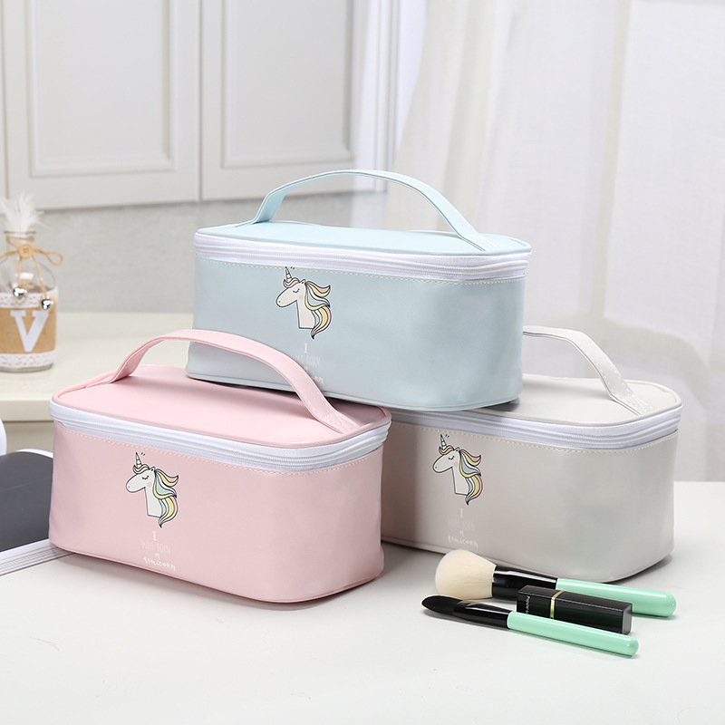 Fashion Cute Pink Blue Unicorn Design Girls Fresh Style Earphone Data Line Jewelry Coins Candy Cosmetics Travel Storage Bag-in Storage Bags from Home & Garden