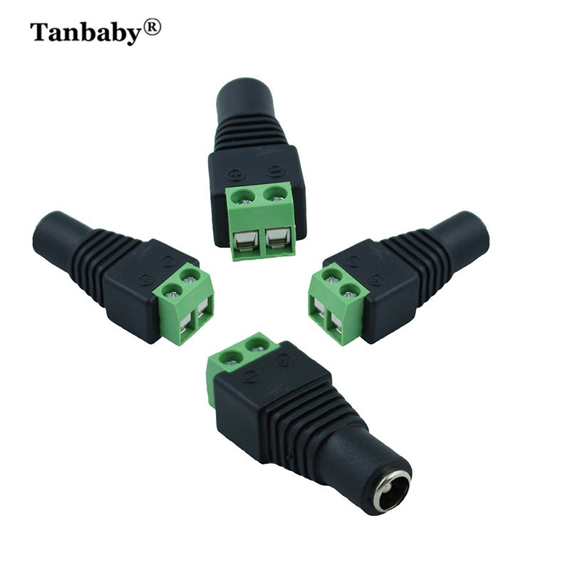 Tanbaby 5pcs Female DC Power Jack Connector Plug Adapter 5.5x2.1mm For 5050 3528 Single Color LED Strip Light for CCTV Camera  10pair 12v push dc connector adapter for 5050 3528 single color led strip and cctv camera 5 5x2 1mm no screw 10x female 10x male
