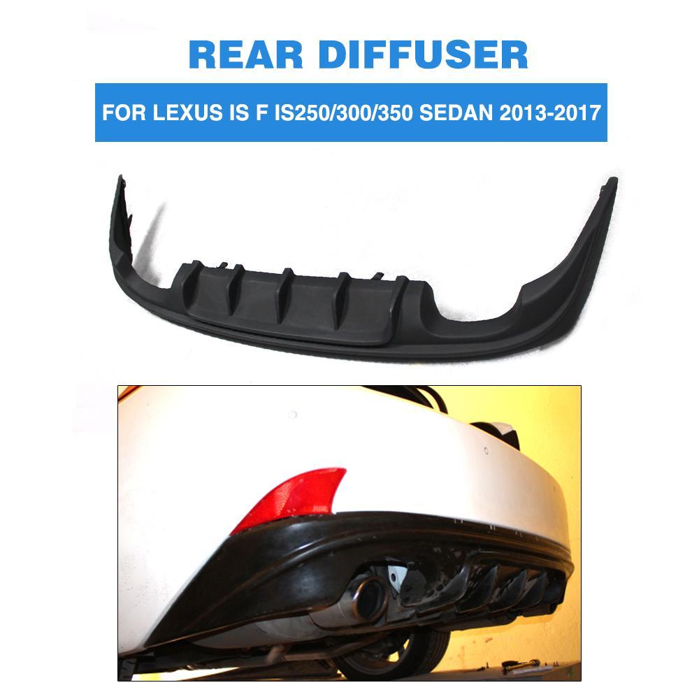 Rear Diffuser Bumper Lip Spoiler Exhaust Protector For Lexus IS Sedan 13-17 IS200t IS250 IS300 IS350 IS F Sedan 13-14 PU Black
