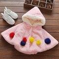 Nuevo Bebé Abrigo de Piel Con Capucha Chicas Chaqueta de Manteau Ropa Bebe Bebé 7BBC019